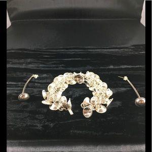 Handmade Sterling Bell Bracelet ,Earrings to Match